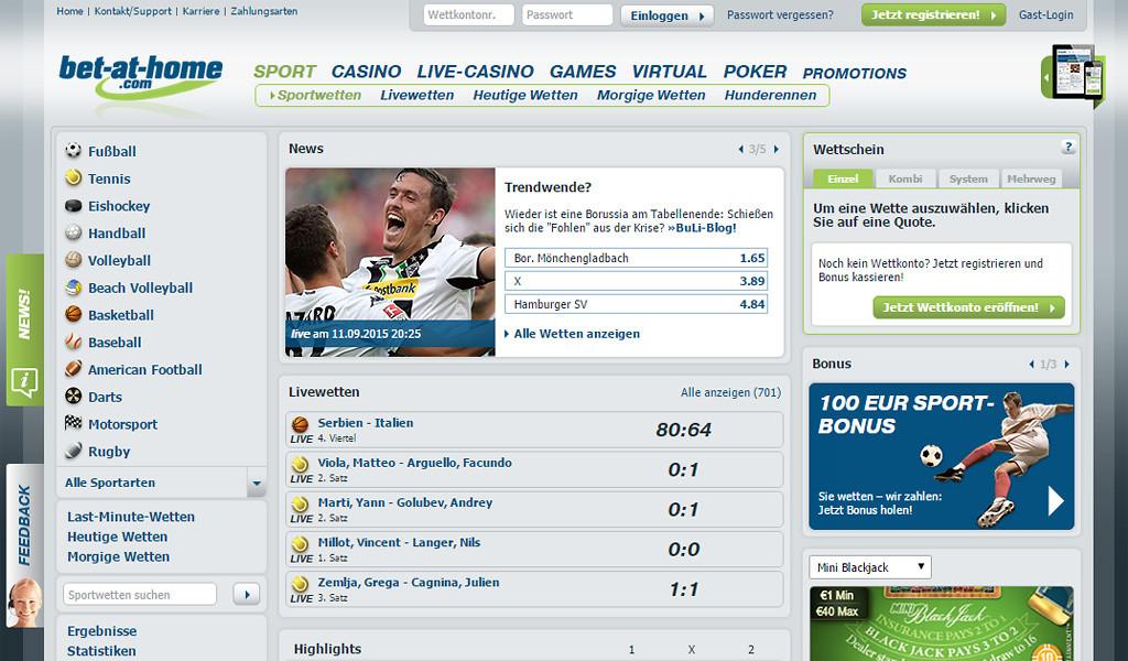 Startseite von bet-at-home mit dem Wettangebot (Quelle: bet-at-home)