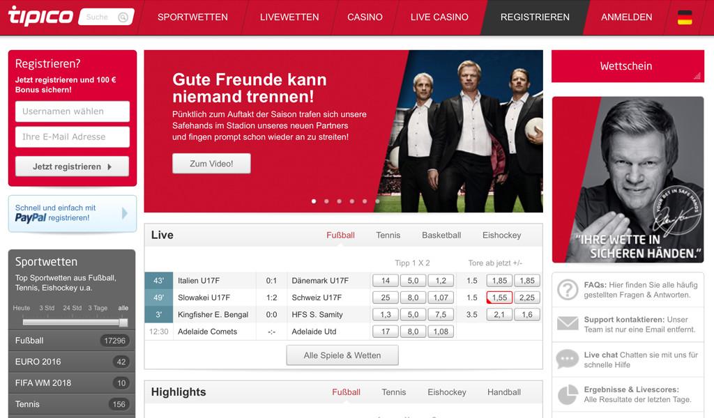 Tipico bietet ein umfangreiches Wettangebot und ist Sponsor des FC Bayern München (Quelle: Tipico)