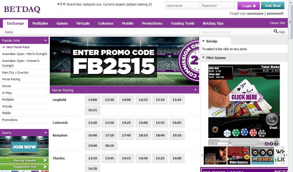 Betdaq Webseite