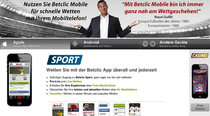 Betclic bietet ein umfangreiches mobiles Angebot (Quelle: betclic)