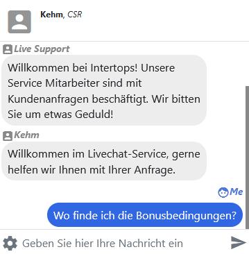 Live-Chat von Intertops