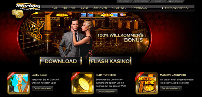 Webseiten-Oberfläche vom Intertops Classic Casino (Quelle: intertops)