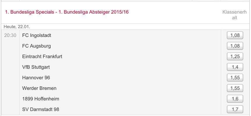 Beim Wettanbieter Tipico sind Wetten auf den Absteiger, wie hier in der 1. Bundesliga, möglich. (Quelle: Tipico)