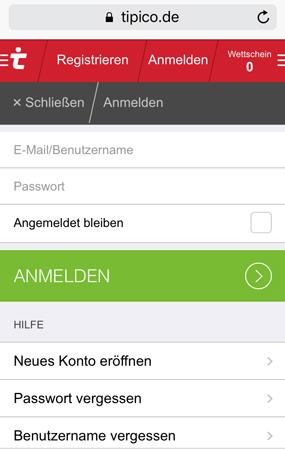 Tipico mobile Anmeldung