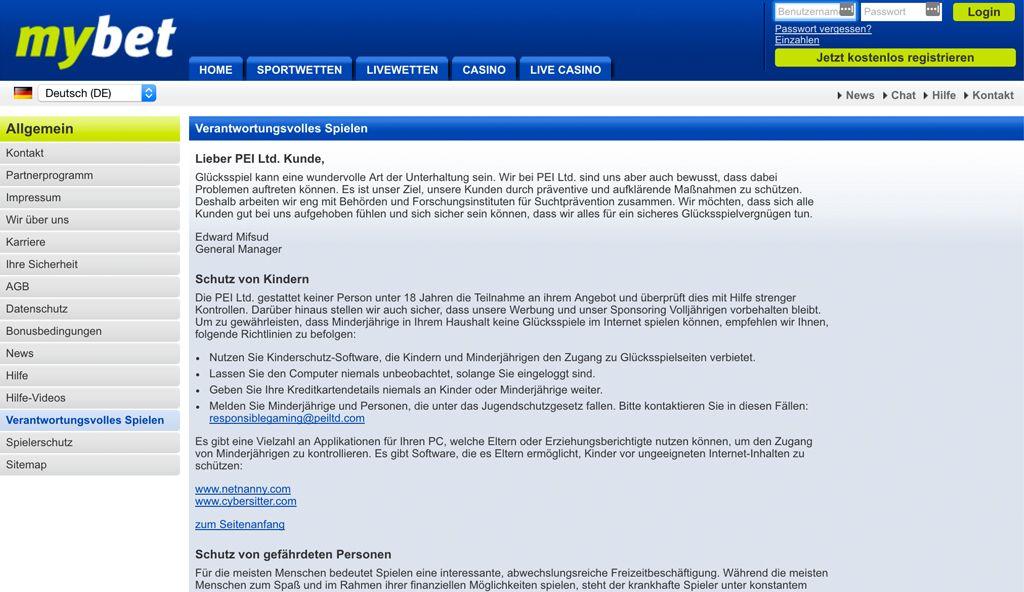 In den AGB von mybet findest Du alle Informationen zum Verantwortungsvollen Spielen (Quelle: mybet)