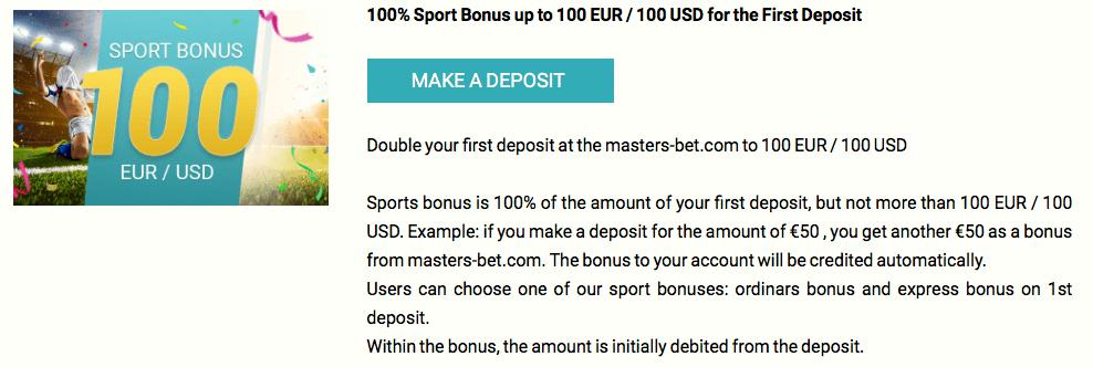masters bet bonus