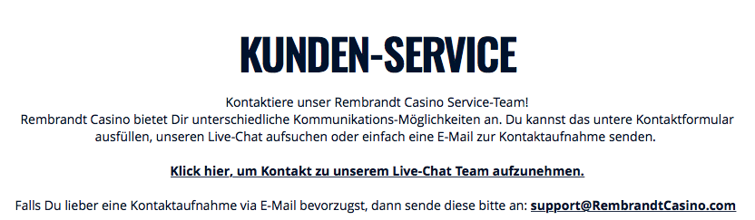 Rembrandt Casino Support