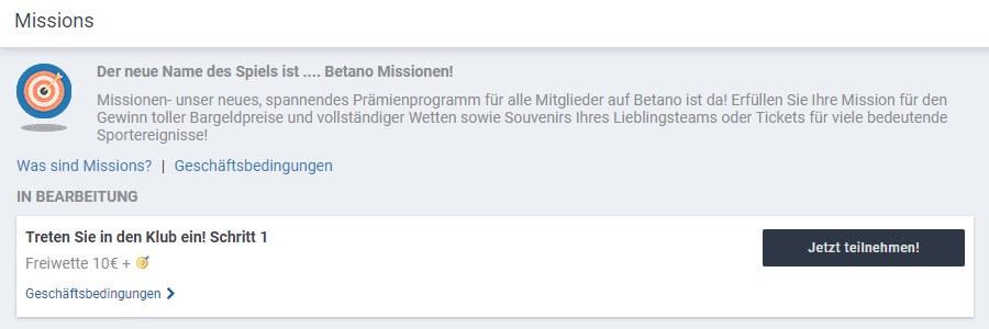 Missionen von Betano