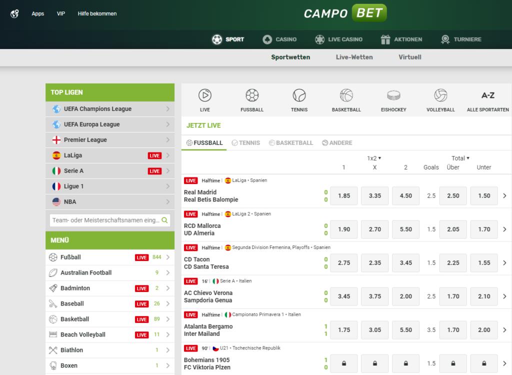 CampoBet Sportwetten