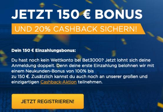 bonus cashback bet3000