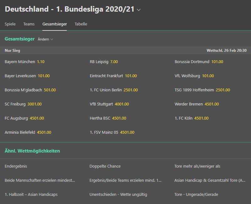 Wettmarkt zur 1. Bundesliga auf Bet365