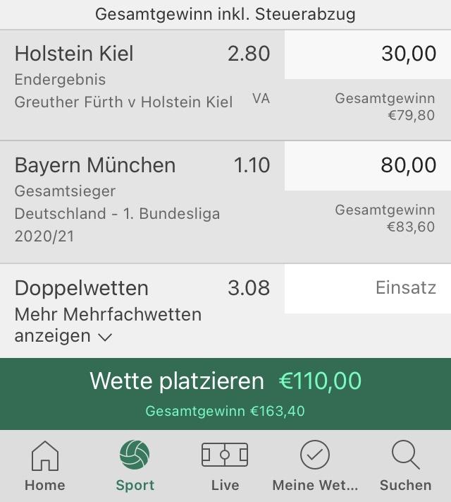 Wettschein in der Bet365 Sportwetten App
