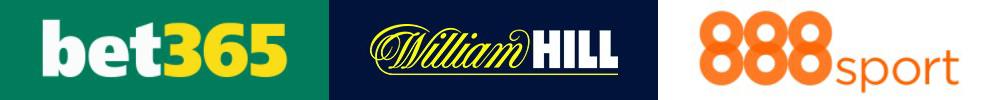 Logos von Bet365, William Hill und 888 Sport