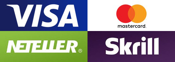 Logos von VISA, Mastercard, Skrill und Neteller
