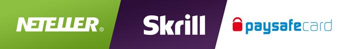 Logos von NETELLER, Skrill und paysafecard