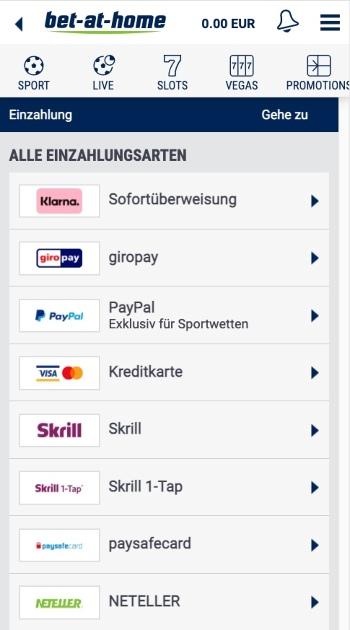 Die mobile Einzahlungsmethoden von bet-at-home
