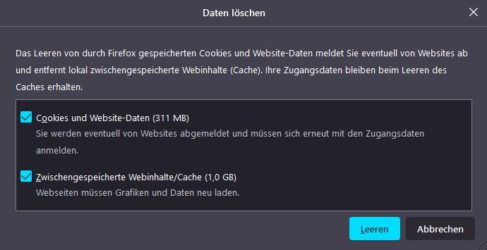 Cookies und Cache im Webbrowser (Firefox) löschen